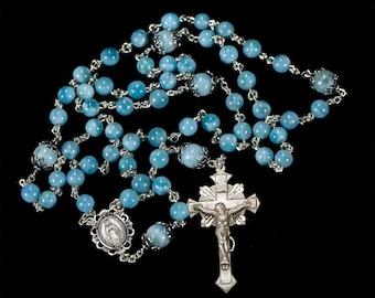 Blue Larimar Catholic Rosary - Handmade, Heirloom Rosaries Gift for Women - Sterling Silver, Miraculous Medal Center, Gemstone