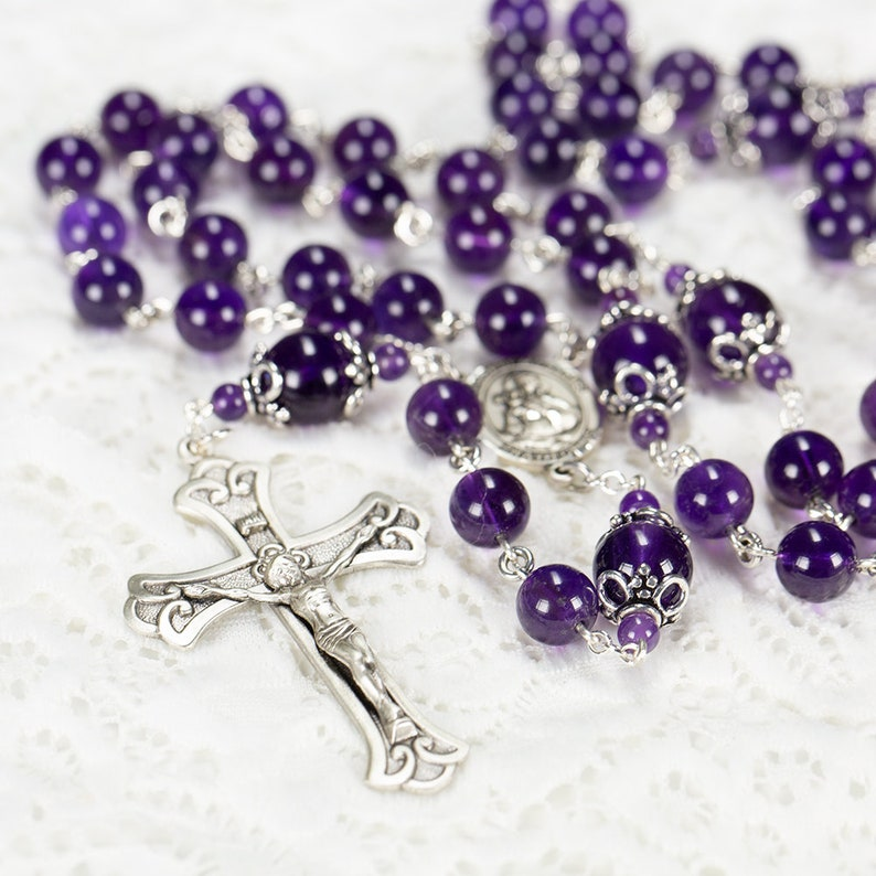 Amethyst Catholic Women's Rosary  Bali Sterling Silver image 1