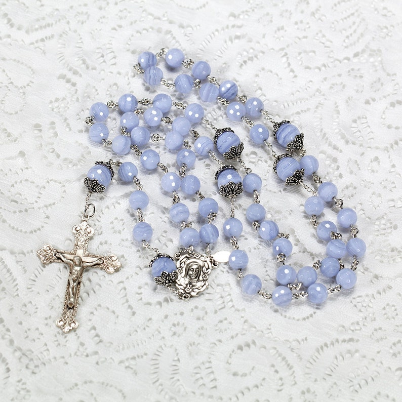 Blue Lace Agate Rosary  Handmade Heirloom 5-Decade Rosaries image 0