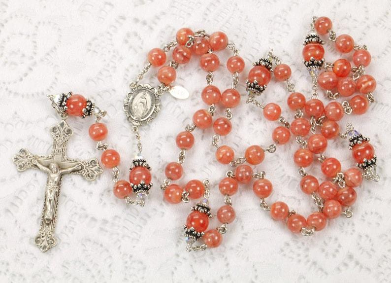 Rhodochrosite Swarovski Crystal Catholic Rosary  Handmade image 0