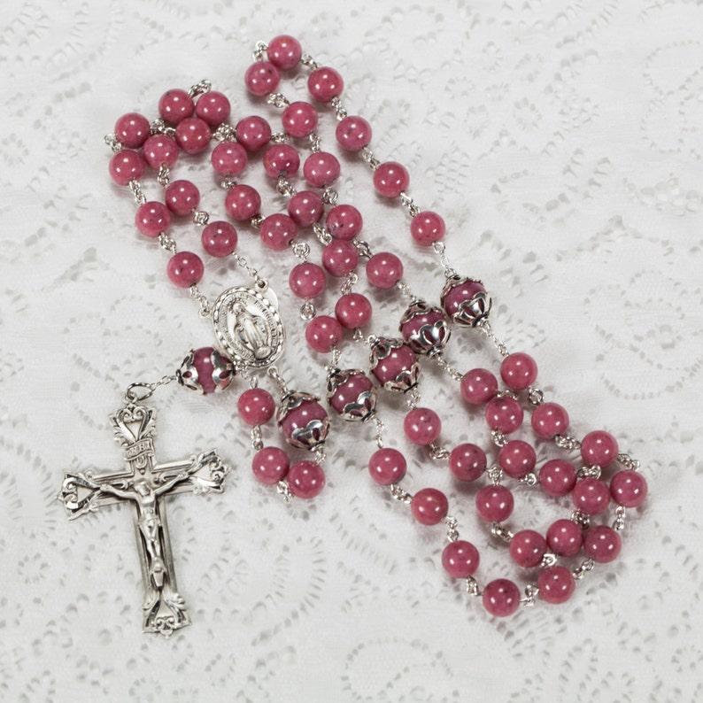 Pink Rhodonite Catholic Rosary Handmade Heirloom Gift for image 0