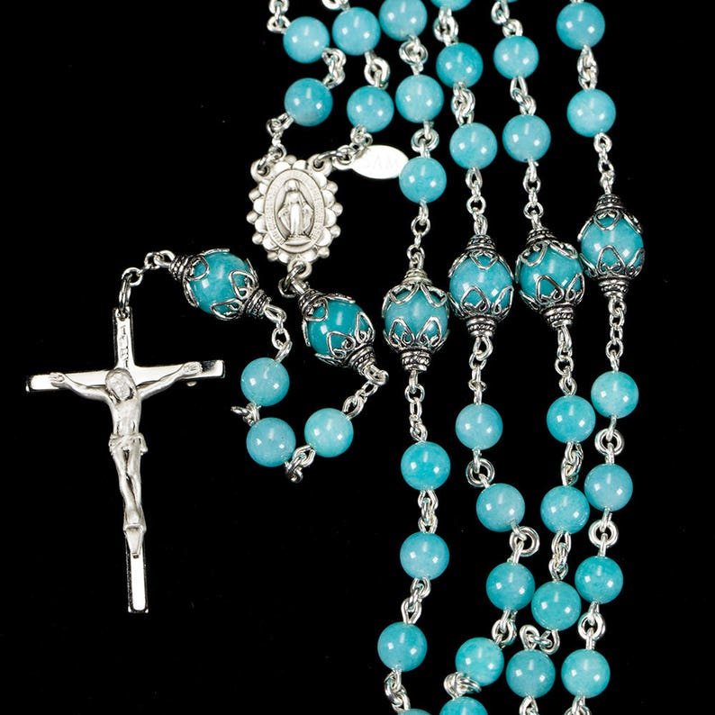 Amazonite Rosary  Dainty Handmade Gift for Catholic Women & image 0