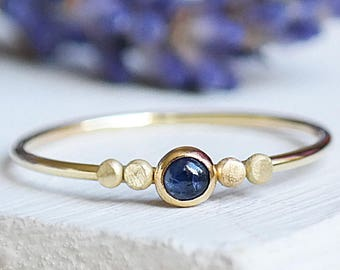 Solid Gold Sapphire Ring, Sapphire Stacking Ring, 9ct Gold Birthstone Ring, Genuine Sapphire Ring, Dainty Gold Ring, Minimalist Gold Ring