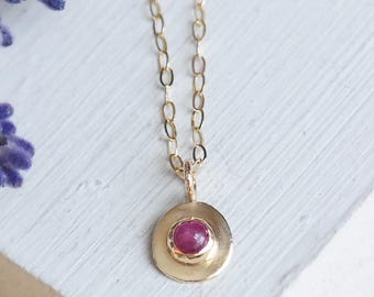 Gold Necklace, Ruby Necklace, Ruby Jewelry, Birthstone Necklace, Gold Ruby Necklace, 9ct Gold Pendant,  9ct Gold Necklace, Gemstone Necklace