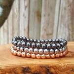 Rose gold, gunmetal and silver hematite mala bracelets