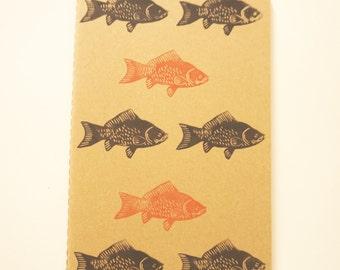 Fish Moleskine 13 x 21 cm linocut kraft cover notebook
