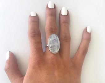Long Oval Moonstone Ring