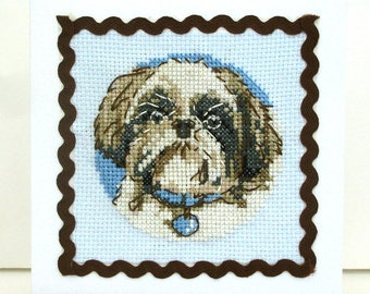 Card Shih tzu embroidery birthday party