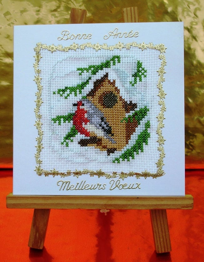 happy new year greetings embroidered handmade card