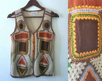Vintage 70's Vest - Leather, Suede Patchwork and Crochet Vest - Tan, Brown, Orange, Green
