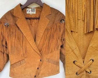 Vintage Suede Fringe Jacket - Western, SouthWest Style Boho Hippie Brown/Orange