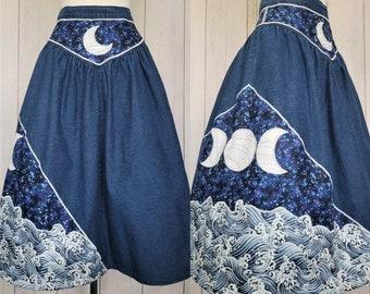 Ocean Moon Denim Skirt (S) | Yoked Vintage Midi Jean Skirt Upcycled | Crescent Moon Phases | Space, Ocean Waves Cottagecore