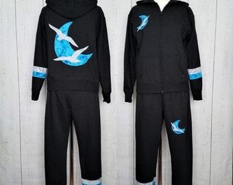 Blue Moon & Birds Sweat Set Hoodie-  Black  Zip Up Women's Medium Sweatshirt - Handmade Appliques- Lunar Phase, Seagull Silhouette