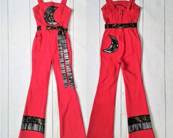 Crescent Moon Red Overalls | Upcycled Patchwork Metallic Lunar Phase Stretchy Jean Bell Bottom Jumpsuit Small - Fabric Collage Up-cycled
