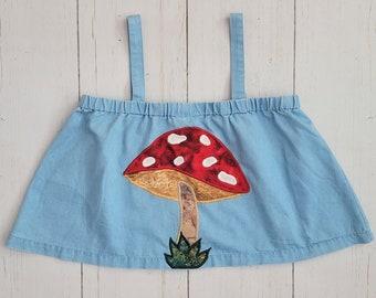 Mushroom Crop Top (Sm/M) | Amanita muscaria Toadstool Shroom | Ruffle Chambray Denim Shirt | Cottagecore Fairycore Faecore | Retro Vintage