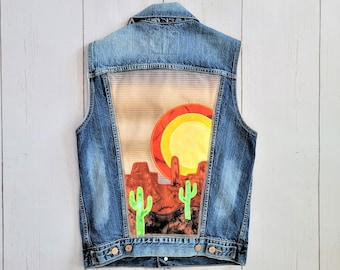 Desert Denim Vest (Sm) | Levi's Bleached Upcycled Vest | Red Rocks Saguaro Cactus Sunset Collage- Wearable Art- Up-cycled Jean Top