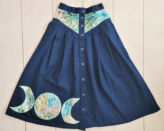Mermaid Moon Denim Skirt (S) | Abalone Shell Vintage Jean Skirt Upcycled -Crescent Moon Phases Yoked  cottage core | Up-cycled Midi Skirt
