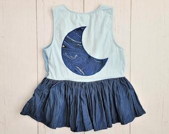 Crescent Moon Peplum Top (XS) | Women's Chambray Sleeveless Top | Lunar Phase Tri-tone Denim Shirt | hippie boho denim jean