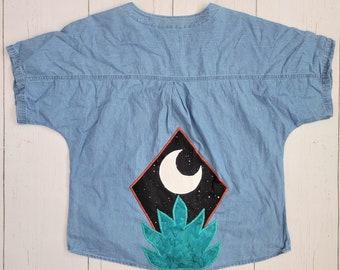 Desert Chambray Top (L) - Southwest Moon & Aloe Denim Short sleeve Lightweight Button Down - Women's Stonewash Hippie BoHo Tie Front