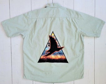 Hawk Chambray Shirt (L) | Sage Southwest Desert Hawk | Denim Short Sleeve Lightweight Top | Pyramid Portal Men's Large Patchwork Applique