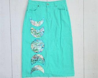 Green Moon Denim Skirt (M/L) | Mermaid Abalone Lunar Phase Sea Foam Green Jean Skirt Upcycled | Crescent Moon Phases | Colored Midi Skirt