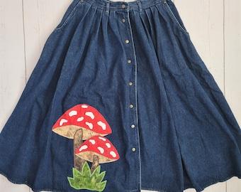Mushroom Denim Skirt (M) | Cottagecore Amanita Mushroom Toadstool | Jean Midi Skirt |Fairycore Fairytale | Vintage Goblincore | Upcycled