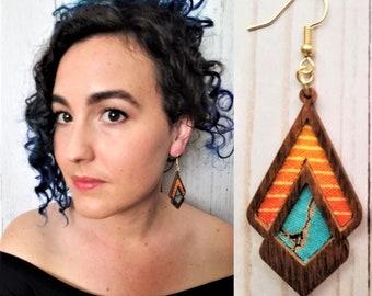 Geometric Southwest Fabric & Wood Dangle Earrings- Turquoise, Orange lightweight textile jewelry-  Boho, hippie, desert, gift for her