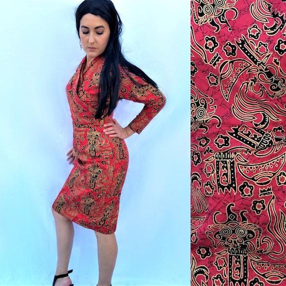 Silk Cocktail Dress – Long Sleeve Asian Print – Fi