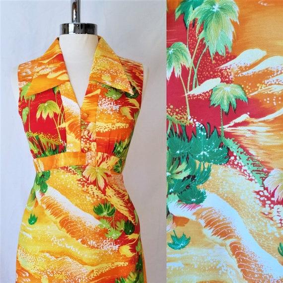 Yellow Orange Palm Tree Sunset Sundress with Spaghetti Straps