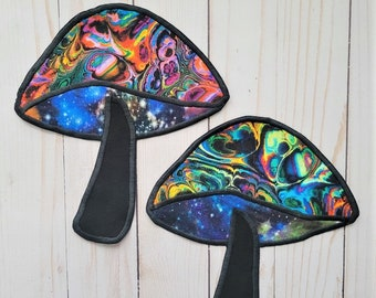 Psychedelic Mushroom Patch | Dark Witch Trippy Shroom | Cottagecore Mushroomcore Fairycore | Large Sew-on Patch for jacket, vest, bag, etc