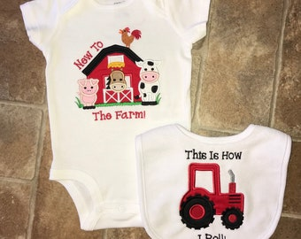 Farm Animal Bodysuit/Tractor Bib/Barn/Cow/Horse/Pig/Embroidered/Baby Shower Gift/Baby/Boy/Girl/Gift