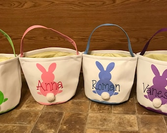 Personalized Easter Basket Bucket-Easter Gift-Embroidered-Custom