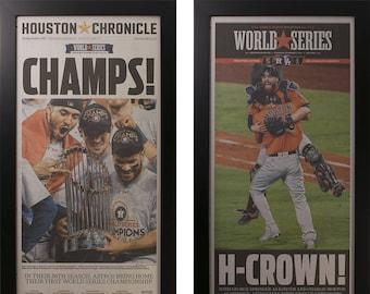 Two Framed Houston Astros World Series 2017  Newspaper Frames