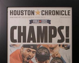 Framed Houston Chronicle Astros World Series 2017  Newspaper