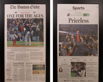 Two Framed Boston Red Sox World Series 2018  Newspapers