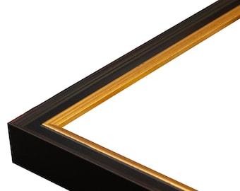 """Academie Black Gold 3/4"""" Picture Frame. 4x6,5x7,6x8,8x10,9x12,11x14,12x16,14x18,16x20,18x24"""