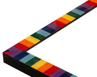 "Gloss Rainbow Pride 3/4"" Picture Frame. Marquetry 4x6,5x7,6x8,8x10,9x12,11x14,12x16,14x18,16x20"