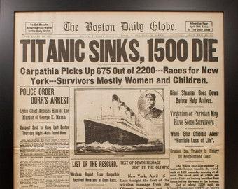 "Framed Titanic Reproduction Newspaper. 17"" x 22 3/4"" . Matte Black 1 3/16"" Frame"