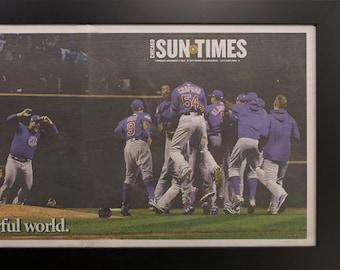 Framed Chicago Sun Times Cubs World Series 2016  Newspaper