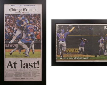 Two Framed Chicago Tribune and Sun Times Cubs World Series 2016  Newspaper