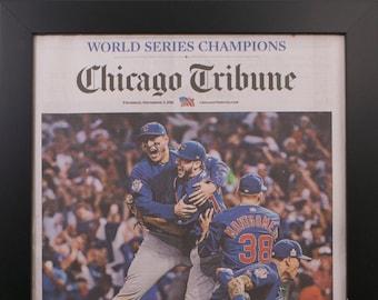 Framed Chicago Tribune Cubs World Series 2016  Newspaper