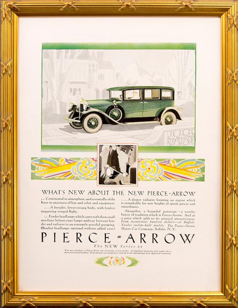 Framed 1928 Pierce Arrow Car Ad  Series 81  9 1/2 x 13