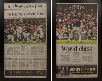 Two Framed Washington Nationals World Series 2019  Newspaper