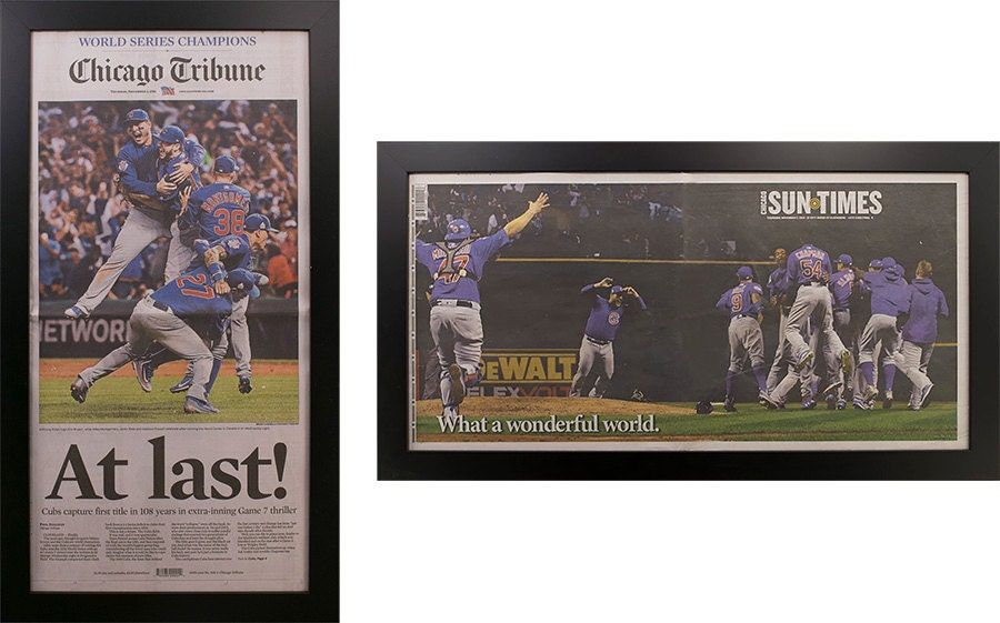 Two Framed Chicago Tribune and Sun Times Cubs World Series