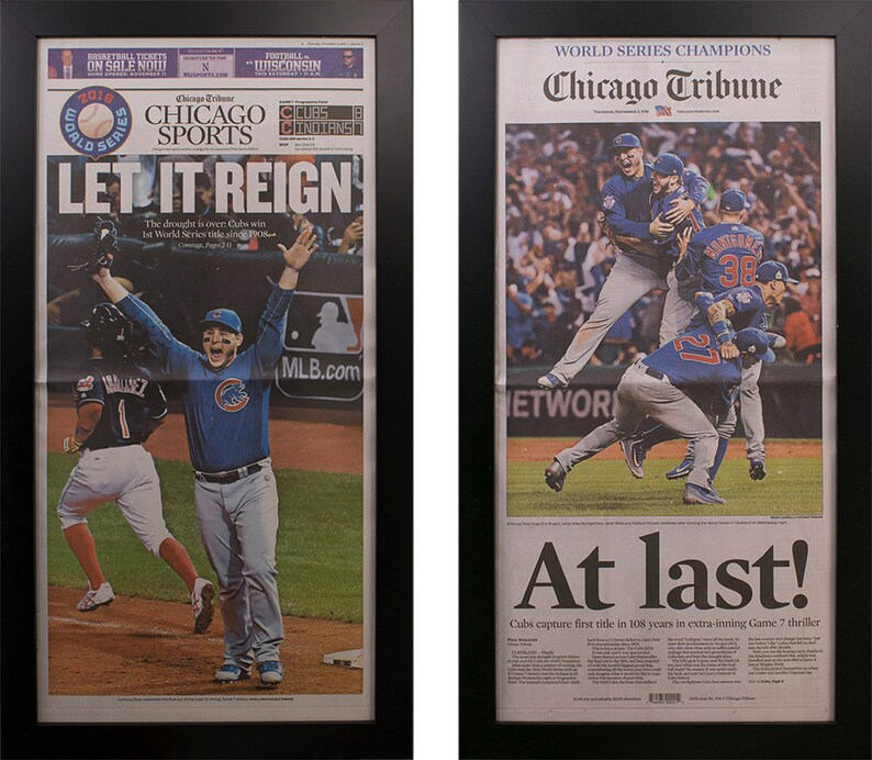 fc9a16eb4c7 Two Framed Chicago Tribune Cubs World Series 2016 Newspaper