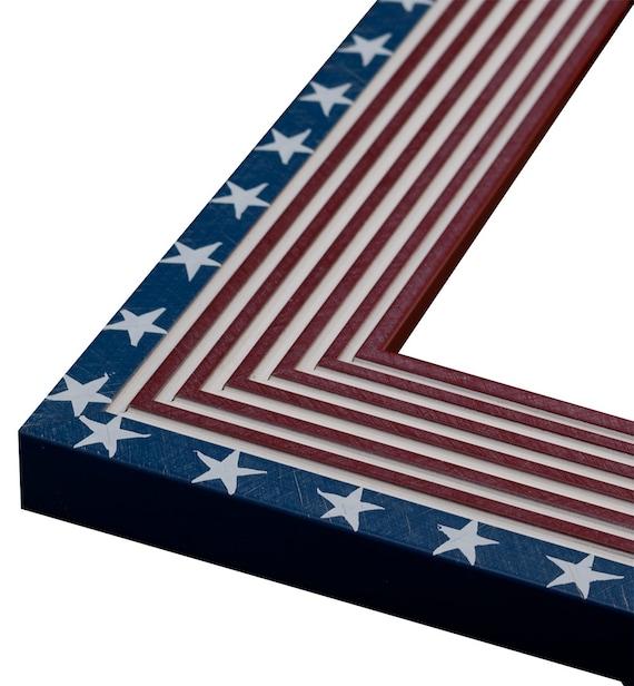 American Flag Frame Redwhiteblue 2 14 Etsy