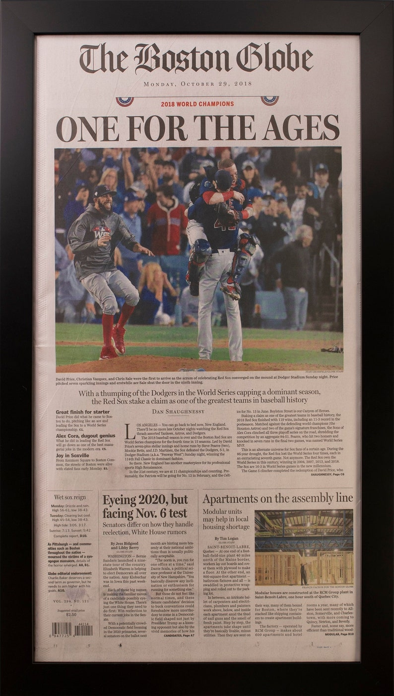 0531a59c7c2 Framed Boston Red Sox 2018 World Series Newspaper