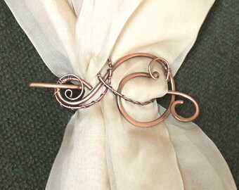 654c19d0cbf Wire Wrapped Copper Brooch Shawl Pin, Copper Sweater Pin, Copper Wire Shawl  Pin, Handmade Copper Jewelry, Knitting Accessories