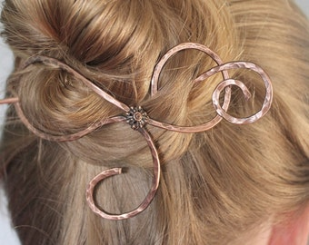 Thick Hair Barrette Metal Copper Jewelry Handmade, Hammered Long Hair Accessories Gift Women, Hair Jewelry, Hair Stick, Hair Slide Hair Clip