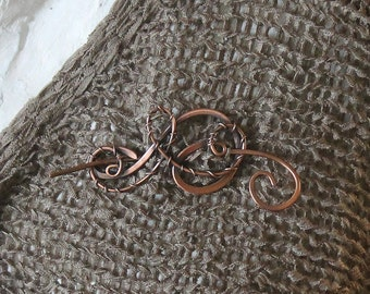 Wire Wrapped Copper Brooch Shawl Pin, Copper Sweater Pin, Copper Wire Shawl Pin, Handmade Copper Jewelry, Knitting Accessories